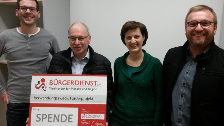Das Organisationsteam bedankt sich herzlich beim Bürgerdienst e.V.: Markus Göbel, Vanessa Lay, Erwin Borsch Vorstand Bürgerdienst e.V. und Rüdiger Herres (v.r.n.l.)
