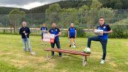 V.l.n.r.: Werner Peters (BÜRGERDIENST Lepper e.V.), Patrick Burggraf (2. Vorsitzender SV Birresborn), Ralf Göres (1. Vorsitzender SV Birresborn), Fritz Skambraks (Beisitzer Spielbetrieb SV Birresborn) sowie Uli Tombers (Kassenwart SV Birresborn) beim symbolischen Spatenstich